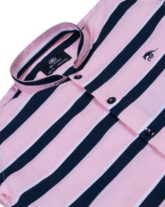 Boys Fashion Striped Pink Shirt
