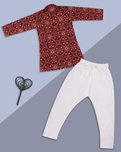 Load image into Gallery viewer, Boys Maroon Bandhani Kurta Suit