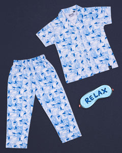 Heron Printed Front Open Blue Night Suit