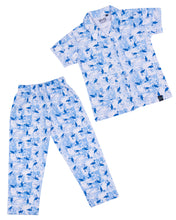 Load image into Gallery viewer, Heron Printed Front Open Blue Night Suit