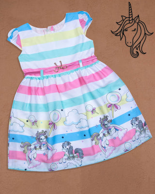 Girls Casual Frock Pink 9078