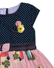 Load image into Gallery viewer, Peach & Navy Blue Printed Cotton Frock