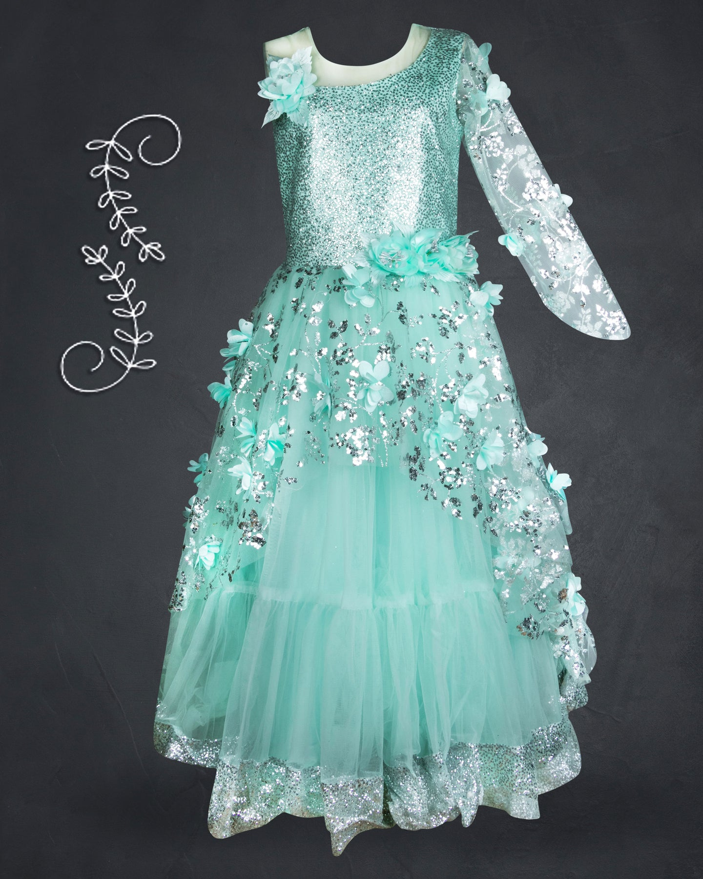 Girls Embellished Green Western Gown