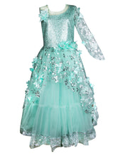 Load image into Gallery viewer, Girls Embellished Green Western Gown