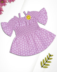 Girls Printed off Shoulder Pink Frock