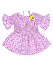 Load image into Gallery viewer, Girls Printed off Shoulder Pink Frock