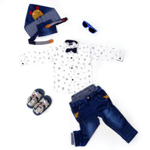 Load image into Gallery viewer, White & Blue Adjustable Boys Dungree Suit