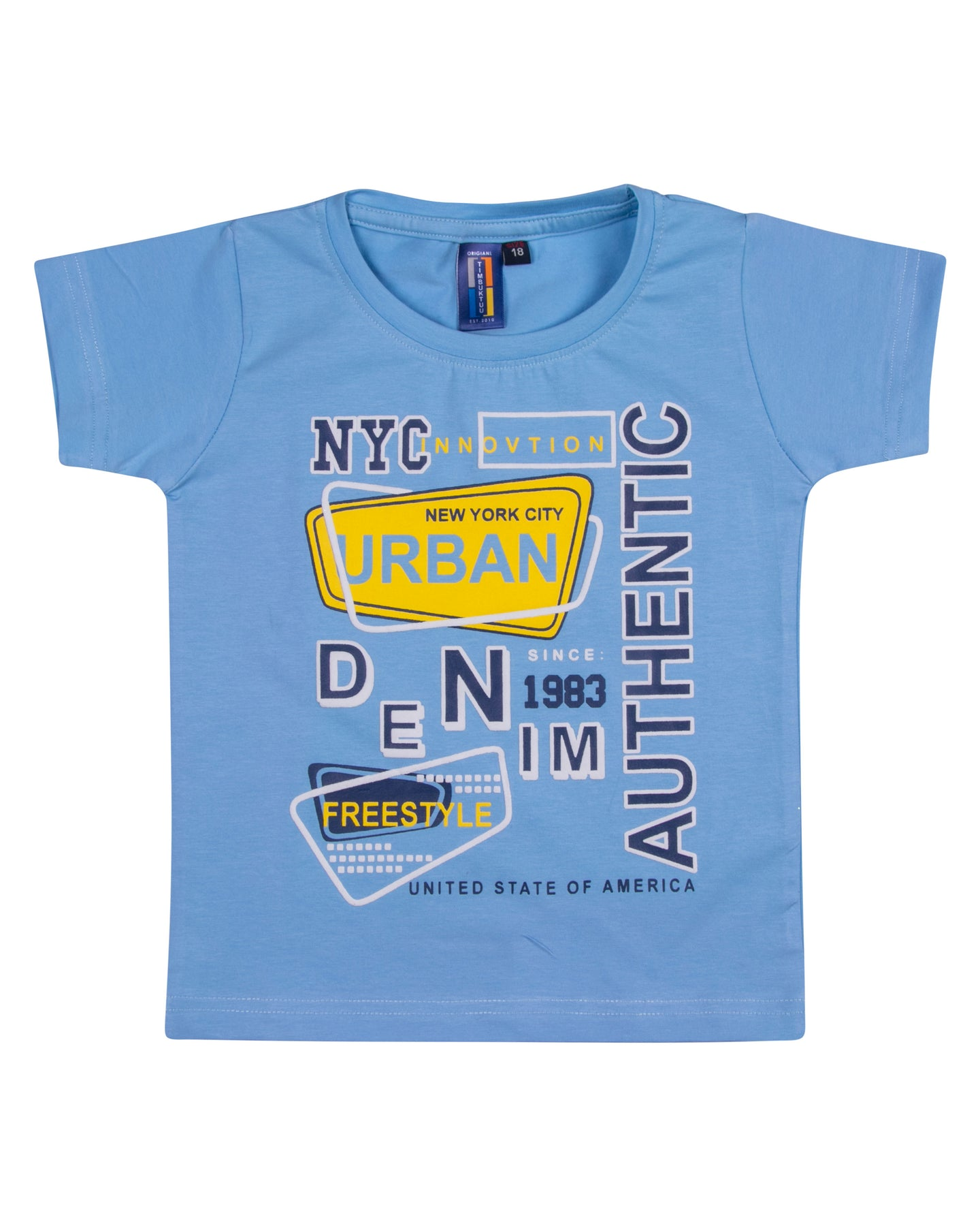 Boys Solid Printed Sky Blue T Shirt