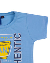 Load image into Gallery viewer, Boys Solid Printed Sky Blue T Shirt