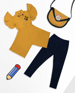 Yellow Top With Legging & Side Pocket Set