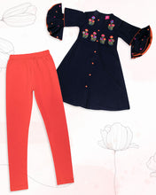 Load image into Gallery viewer, Girls Embroidered Navy Blue Kurti Set With Frill Sleeve