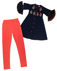 Girls Embroidered Navy Blue Kurti Set With Frill Sleeve