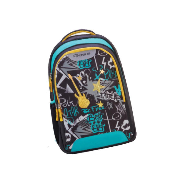 Genius Punk Rock 34L Tuxedo Black Backpack For Kids