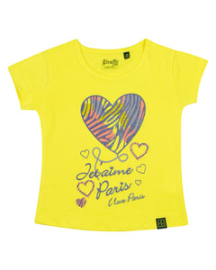 Girls Casual Printed Yellow Top