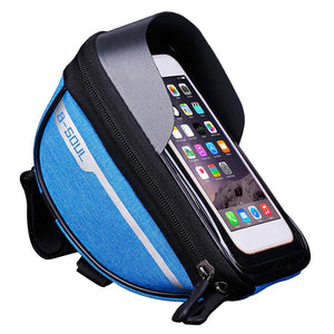 Mountain Bike Head Tube Handlebar Cell Mobile Phone Bag Case Waterproof Bag Touchscreen Cell Phone Stand Pannier