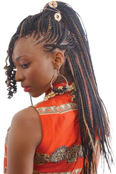 Model wearing short Ghanaian line braids with copper red and strawberry blonde highlights