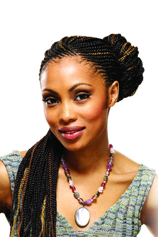 Model wearing black Expression braids with strawberry blonde highlights.