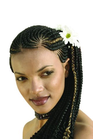 Model wearing Ghanaian line braids with strawberry blonde highlights