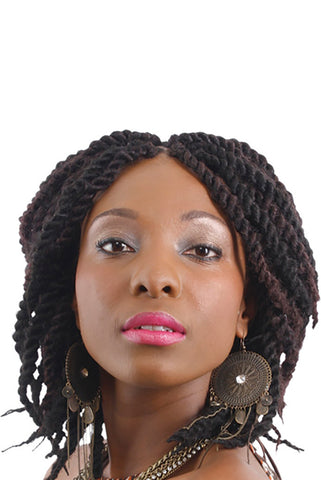 Thick kinky twist hairstyle braided using our Fluffy Kinky hair extensions