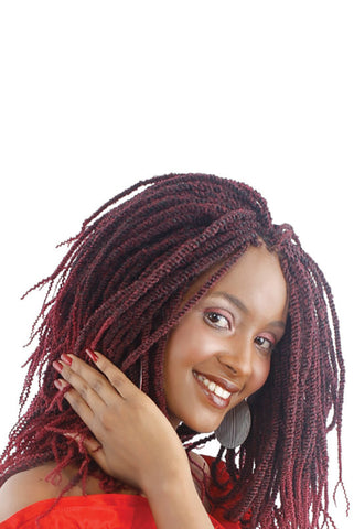 Model with our pencil kinky braids installed and styled into thin, tight kinky twists. Color: 2/900 (black/burgandy)