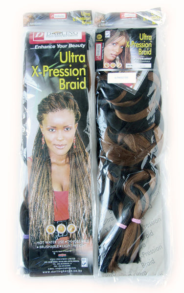 Our 84 inch Ultra-Expression braids. Sample packets highlighting the front and back.