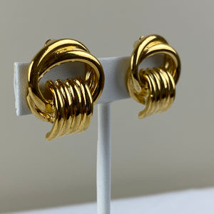 Vintage Goldtone Knot Earrings Clip On