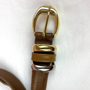 Vintage Leather Belt with Two Tone Buckle