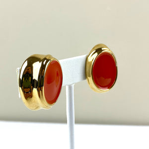 Vintage Orange & Goldtone Capezio Clip On Earrings