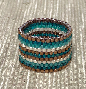 Cool Turquoise and Rose Stripe