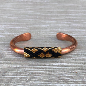 Ebony and Gold on Copper Cuff