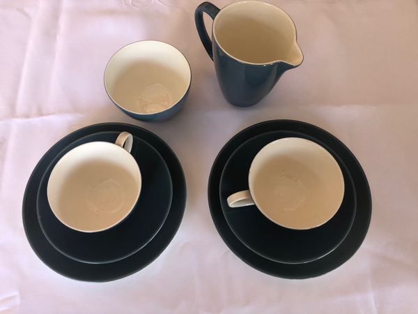 Poole Pottery Teacups, Saucers and Cake Plates