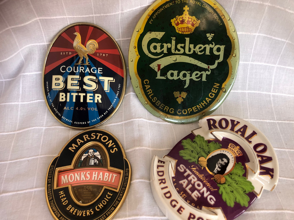Selection of Ceramic, Metal and Card Beer Signs