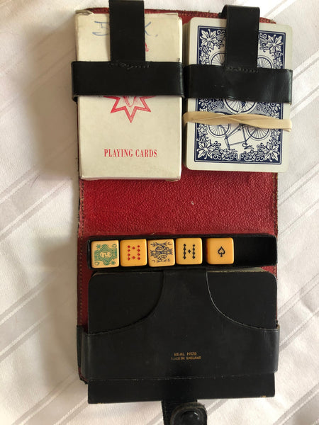 Unique Card and Dice Set in Leather Binder