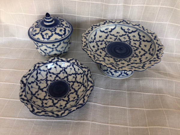 Colletion of 3 Blue and White Tazza Dishes