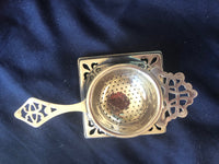 Silver Plated Tea Strainer and Stand