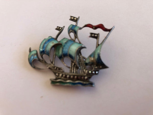 Marcasite and Enamel Ship Brooch
