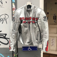 Load image into Gallery viewer, Dragon motif motorcycle jacket with leather patches