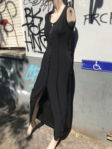 Gucci zip up long dress with a slit (black)