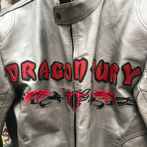 Dragon motif motorcycle jacket with leather patches