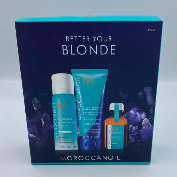 Moroccanoil Better Your Blonde Set inkl. dry shampoo light, treatment & purple shampoo