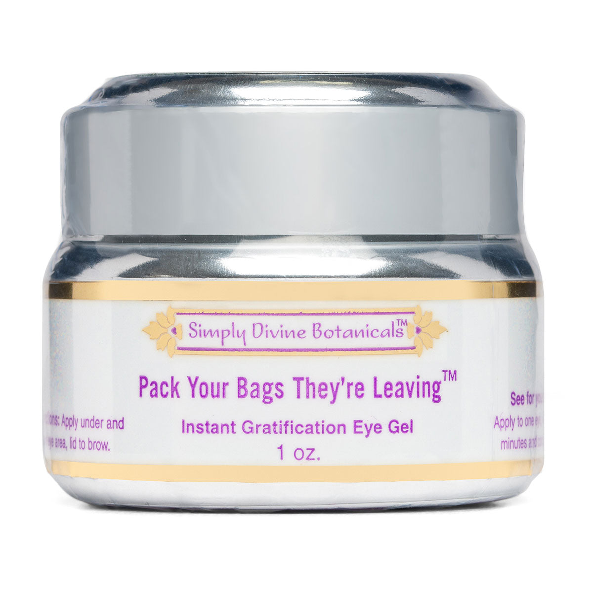 Pack Your Bags They're Leaving Eye Gel (1 oz) - Simply Divine Botanicals