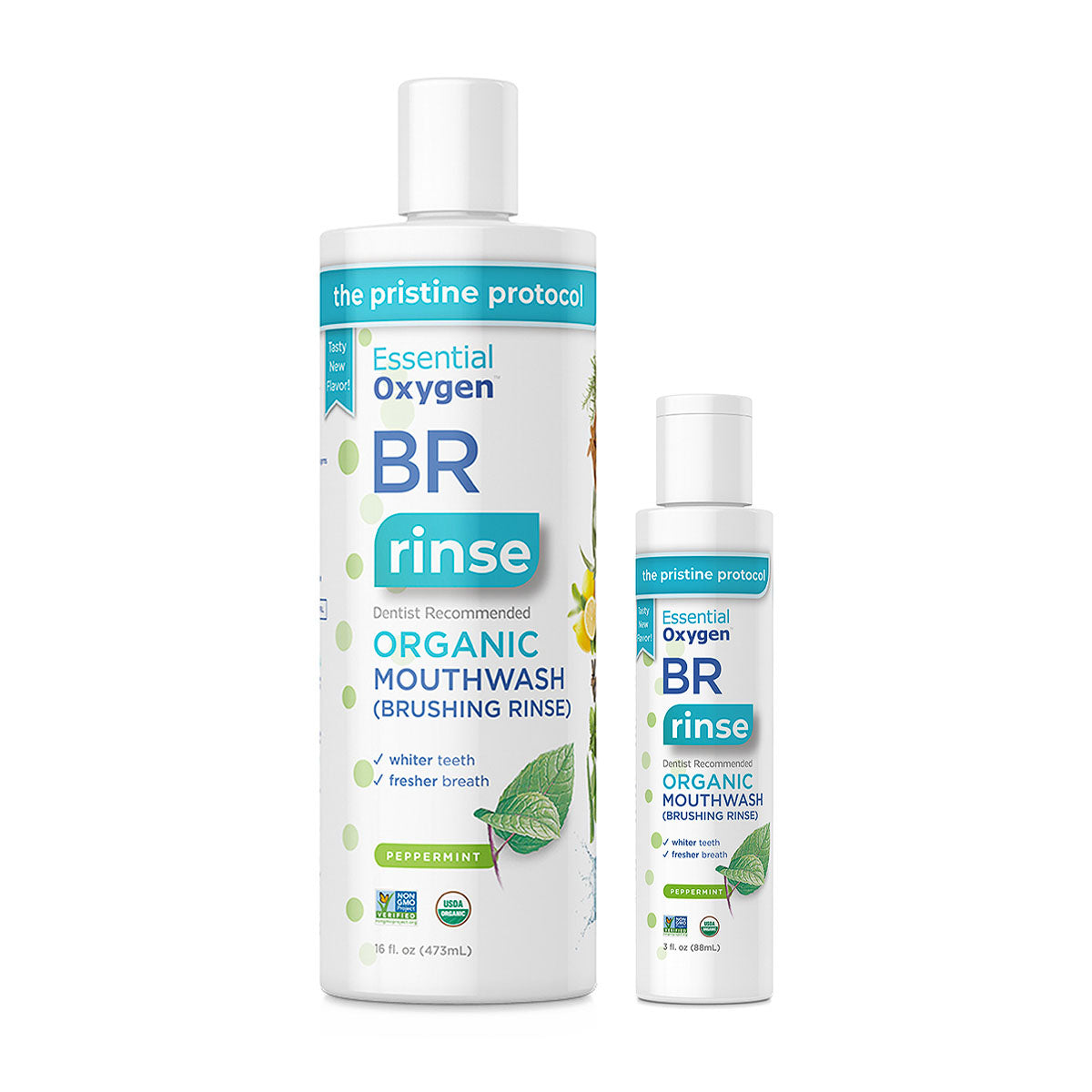 Essential Oxygen - Peppermint Brushing Rinse (3floz, 16floz)