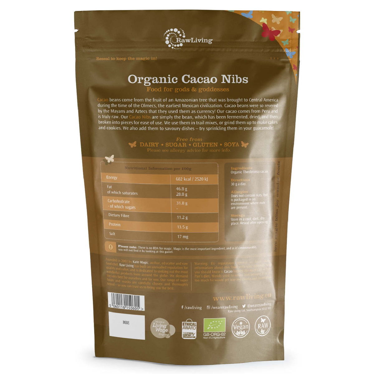 Organic Cacao Nibs Peruvian | Raw Living UK | Raw Foods