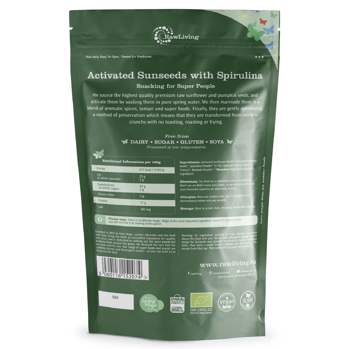 Activated Sunseeds with Spirulina - Organic (100g, 250g, 500g)