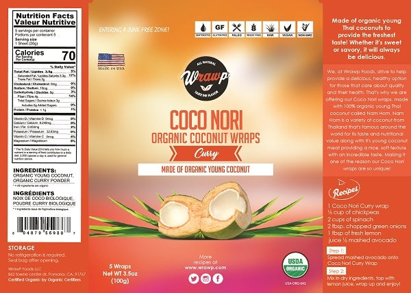 Coco Nori wrap - Curry - (100g - 5 wraps)