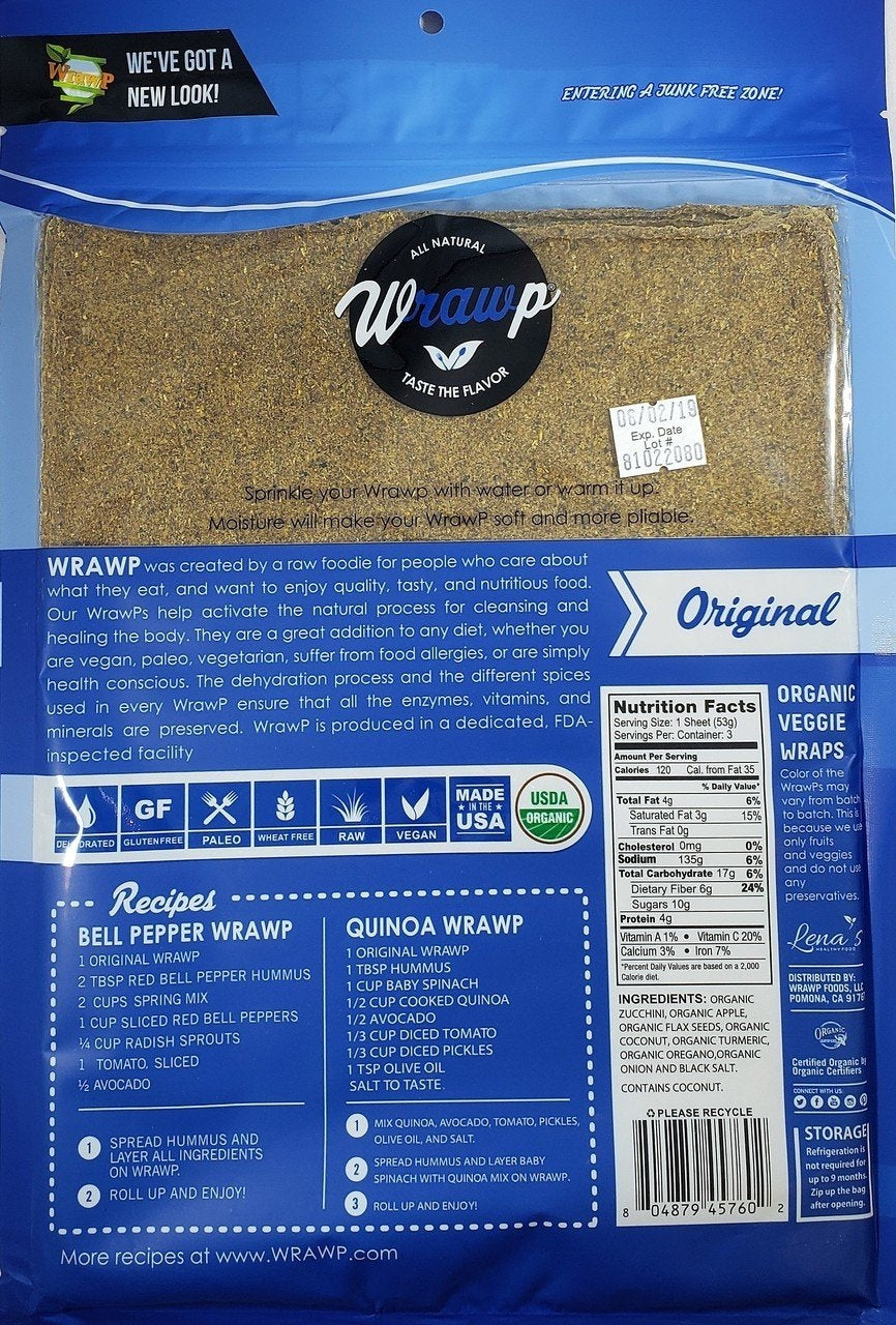 WrawP Raw Vegan Flat Bread - Original (158g / 3 wraps)