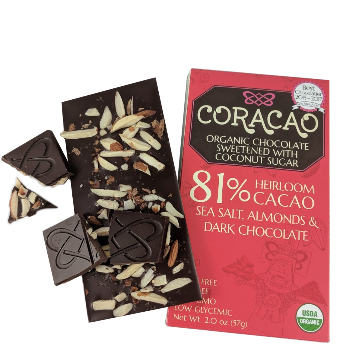 Coracao 81% Salted Almond Bar (2oz / 57g)