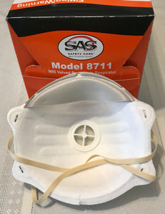 Respirator - SAS SAFETY #8711 N95 Valved Particulate 10/bx