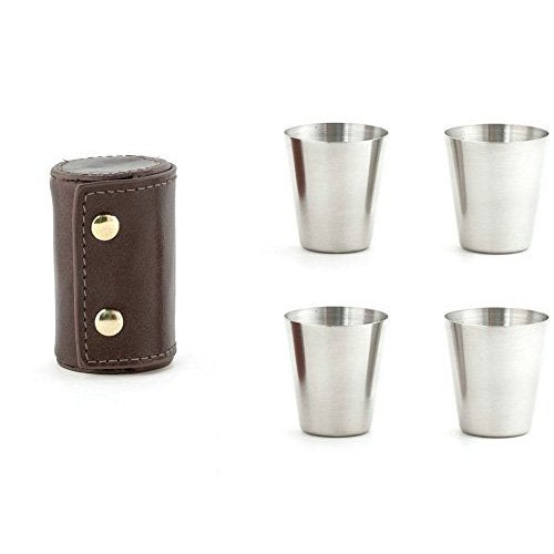 Shot Glass Set w/Leather Case- Kikkerland