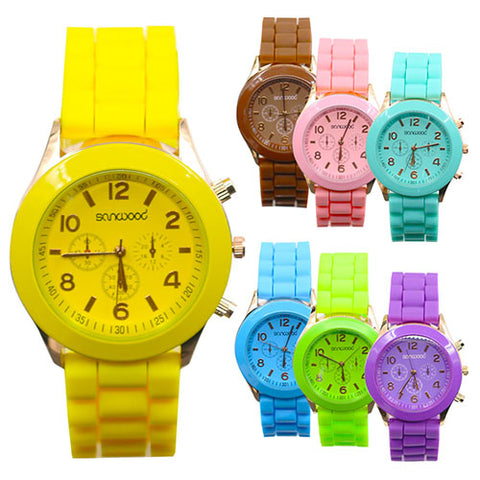 Women's Silicone Jelly Quartz Analog Sport Wrist Watch Birthday Gift